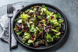 Lettuce watercress pomegranate salad