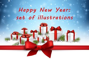 Happy New Year set of illustrations