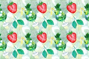 Watercolor mojito strawberry pattern