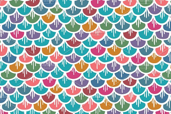 Fish Scales Seamless Pattern Colored Patterns Creative