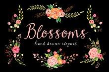 Blossoms - Watercolor floral ClipArt
