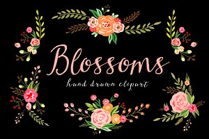 Blossoms - Watercolor floral ClipArt