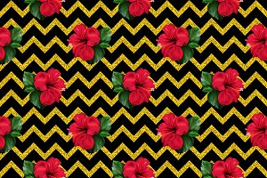 Red hibiscus flower seamless pattern