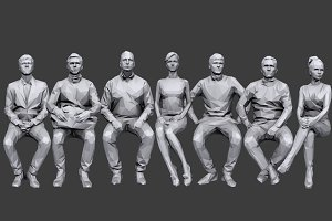 Lowpoly People Sitting Pack Vol.3