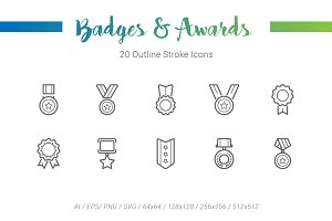 20 Badges Award Outline Stroke Icons