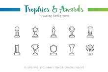 19 Trophy Award Outline Stroke Icons
