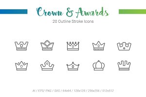 20 Crowns Award Outline Stroke Icons