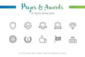 16 Prizes Award Outline Stroke Icons