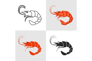 Set of shrimp vector icons