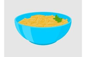 Fusilli pasta in plate