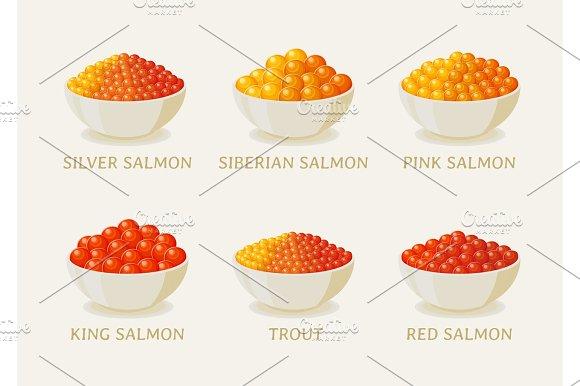 Set Of Red Caviar Of Salmon Fish
