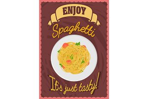 Poster with spaghetti on a plate.