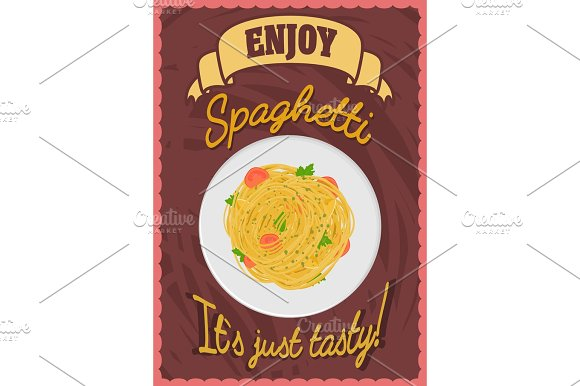 Poster With Spaghetti On A Plate