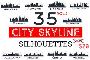 35 City Skyline Silhouettes Set