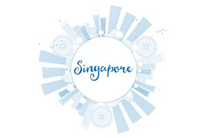 Outline Singapore skyline