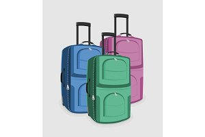 Three suitcases set