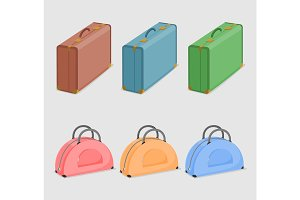 Illustration of six suitcases