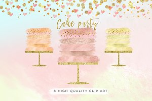 rose gold cake clip art,