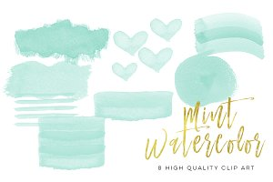 mint watercolor strokes,