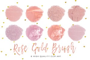 Rose gold circle brush strokes