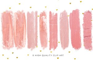 Blush pink brush strokes,