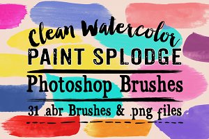 Clean Watercolor Splodges PS Brushes