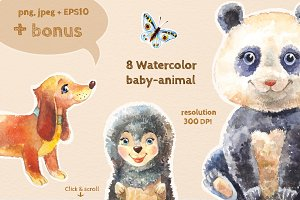 8 watercolor baby-animals