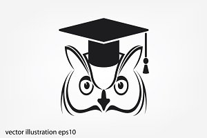 Owl in graduate cap icon