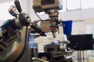 Machinery industry - lathe machine at factory - metal equipment