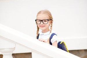 Kid girl go to school