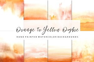 Orange to yellow ombre watercolor