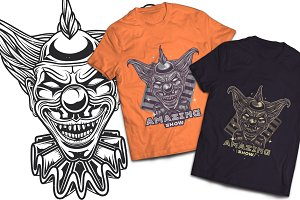 Clown T-shirts And Poster Labels