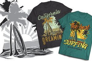 California Surfing T-shirts Labels