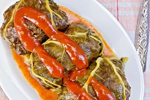 Rhubarb leaves stuffed