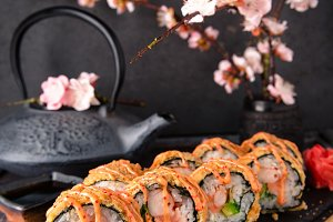 Fried Sushi Roll with salmon, shrimp