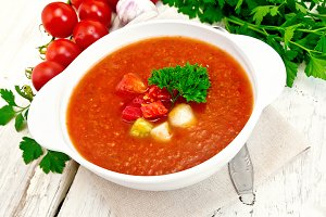 Soup tomato in white bowl