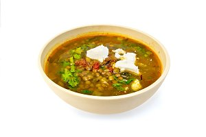 Soup lentil with spinach