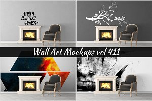 Wall Mockup - Sticker Mockup Vol 411