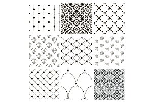 Vector Black Decorative Seamless Patterns Set