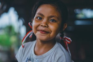 Indonesian girl with ribbons