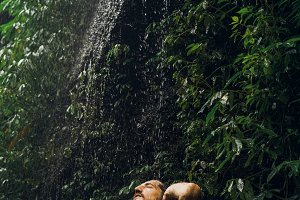 waterfall in a tropical jungle