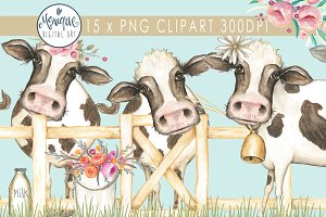 Cows Clip Art Water colour