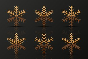 Set of golden and silver snowflakes