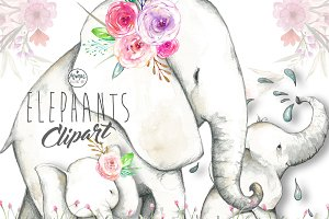Elephants Clip Art Water colour