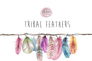 Tribal Feathers Clip art water color