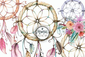 Dreamcatcher Clip Art Water Colour