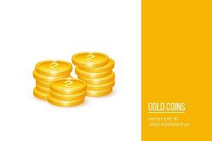 Realistic 3d golden coins.
