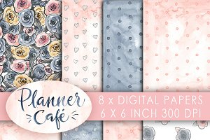 Cafe Girl digital paper watercolor