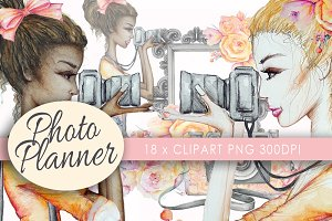 Camera Girl Clipart watercolor