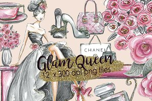 Glam Fashion Clipart watercolor
